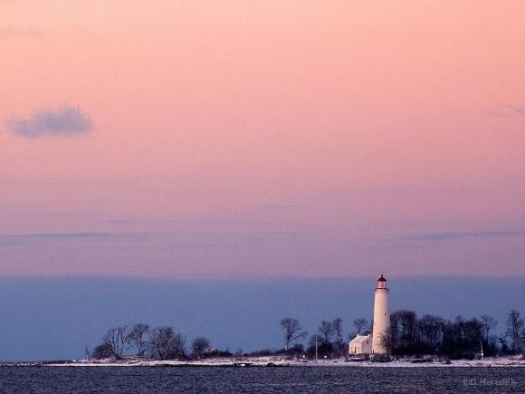 Chantry Island Lighthouse at sunrise, Lake Huron, Ontario, Canada