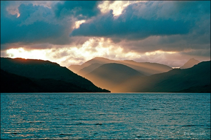 Storm clouds and light beams, Loch Arkaig, Scotland