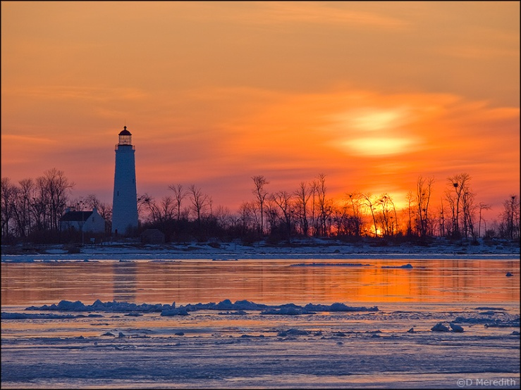 Chantry Island Lighthouse at sunset, Lake Huron, Ontario, Canada