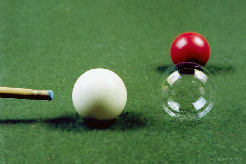 Soap bubble snooker ball