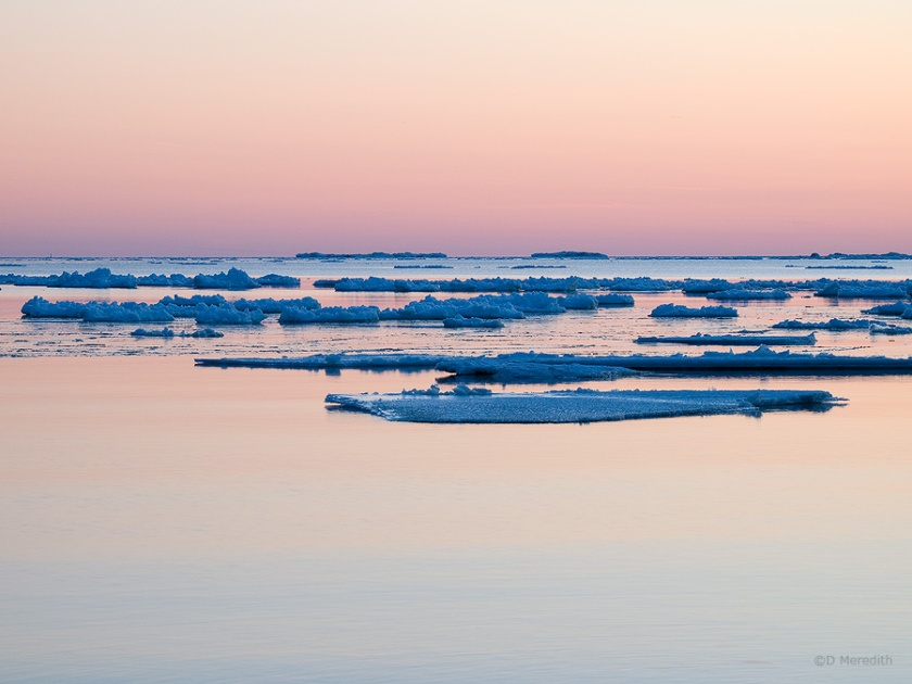 Blue ice at dusk.