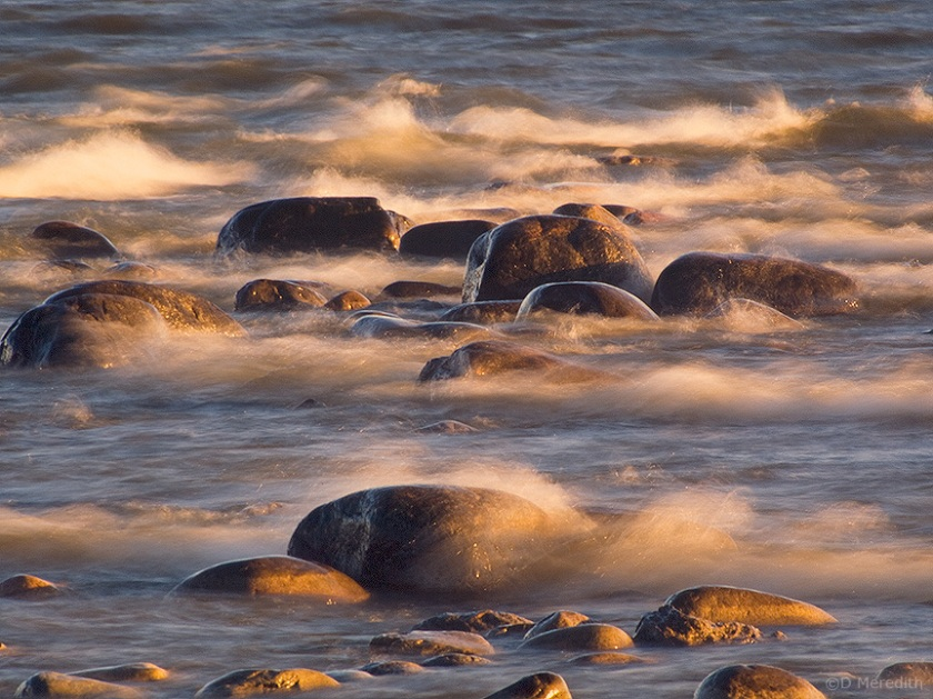 Rocks and waves.