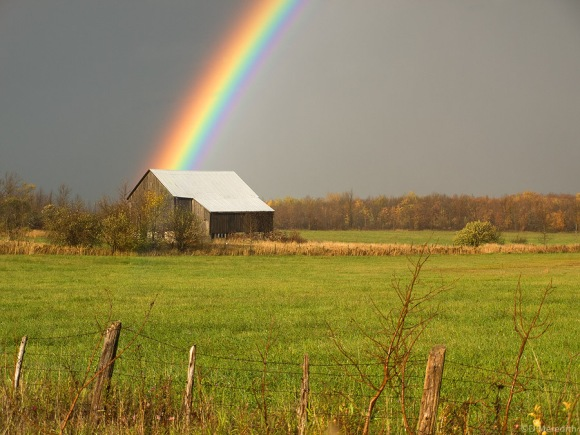 Old barn and a rainbow.