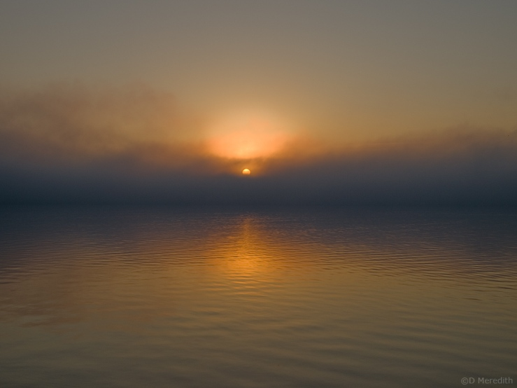 Foggy sunrise on Colpoy's Bay.