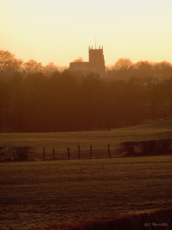 St James' Church, Audlem at sunset.