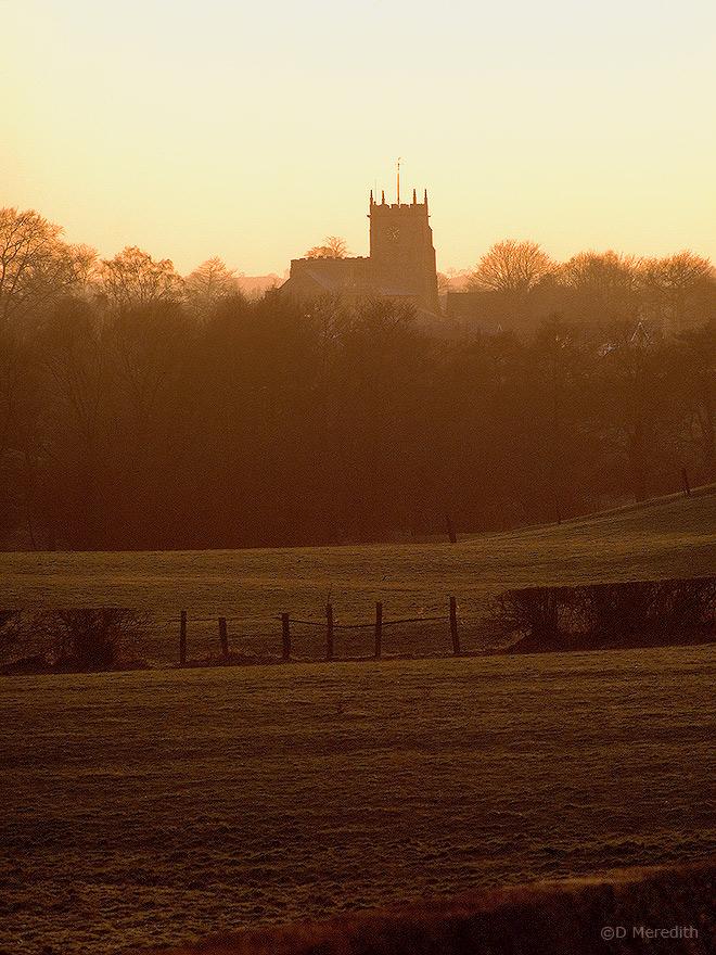 St James' Church, Audlem at sunset.