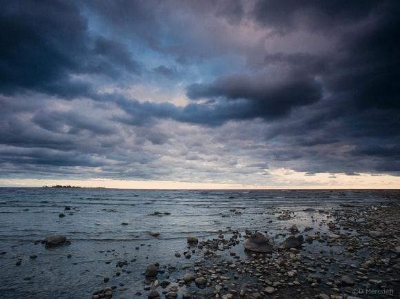 Storm clouds over Chantry Island and Lake Huron.