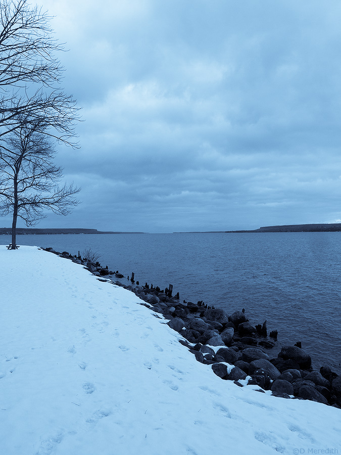 Early snow on the Colpoy's Bay shoreline.