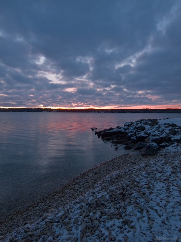 Clouds over Colpoy's Bay and the Niagara Escarpment at sunrise.