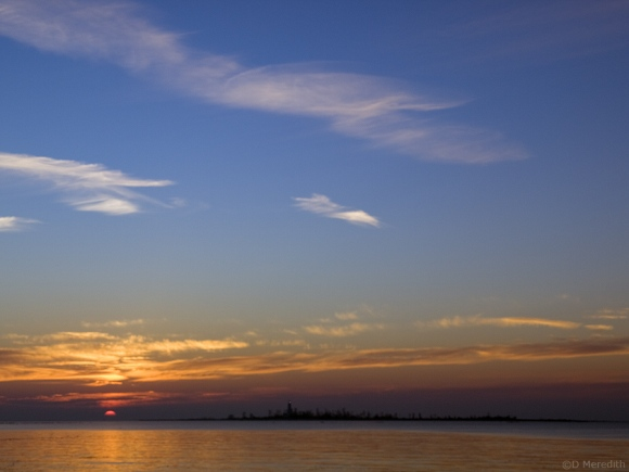 Lake Huron and Chantry Island at sunset.