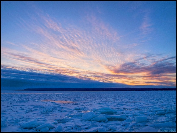 A frozen Colpoy's Bay at sunrise.