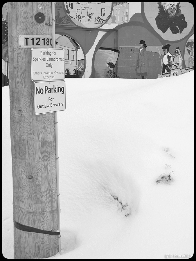 Parking signs, mural and snow bank.