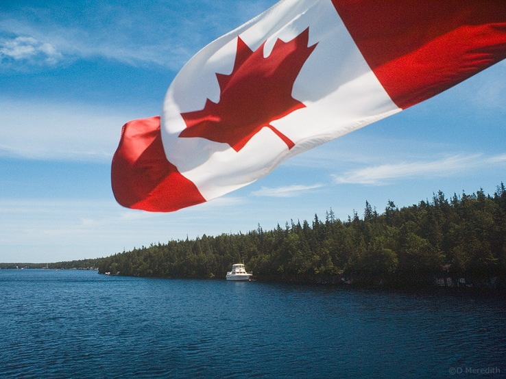 Canadian flag on a tour boat.