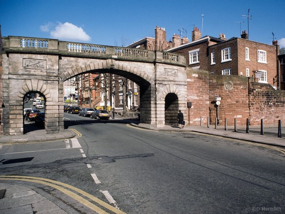 Bridgegate, the southern entrance to medieval Chester.