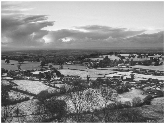 A patchwork of snow covered fields.
