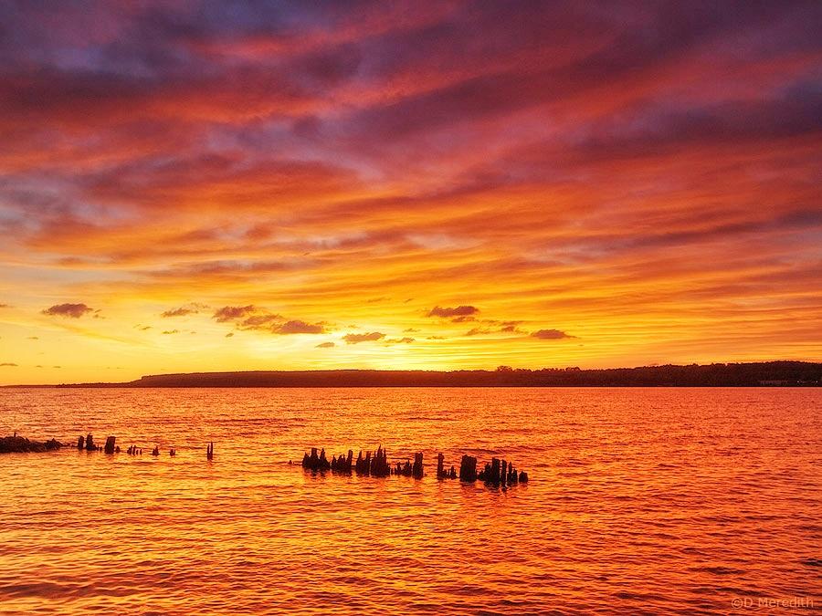 Orange sky at sunrise.