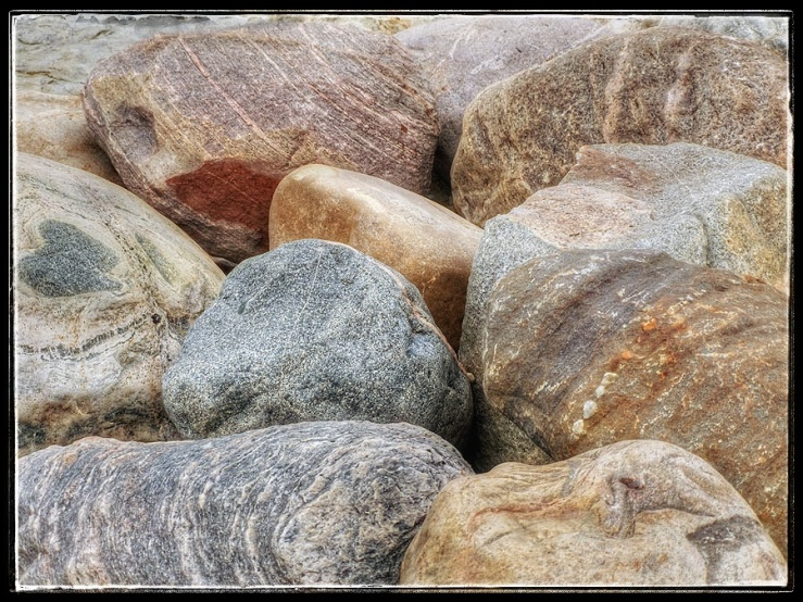 Boulders on the Lake Huron shoreline.
