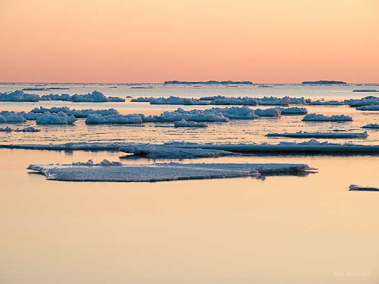 Ice at sunset.