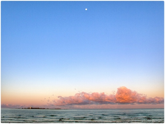 Chantry Island at sunrise with moon.