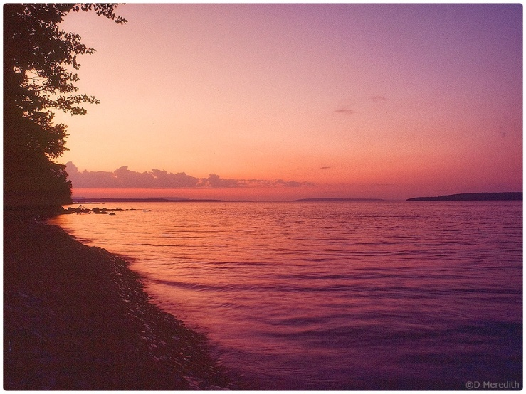 Georgian Bay shoreline at sunset.