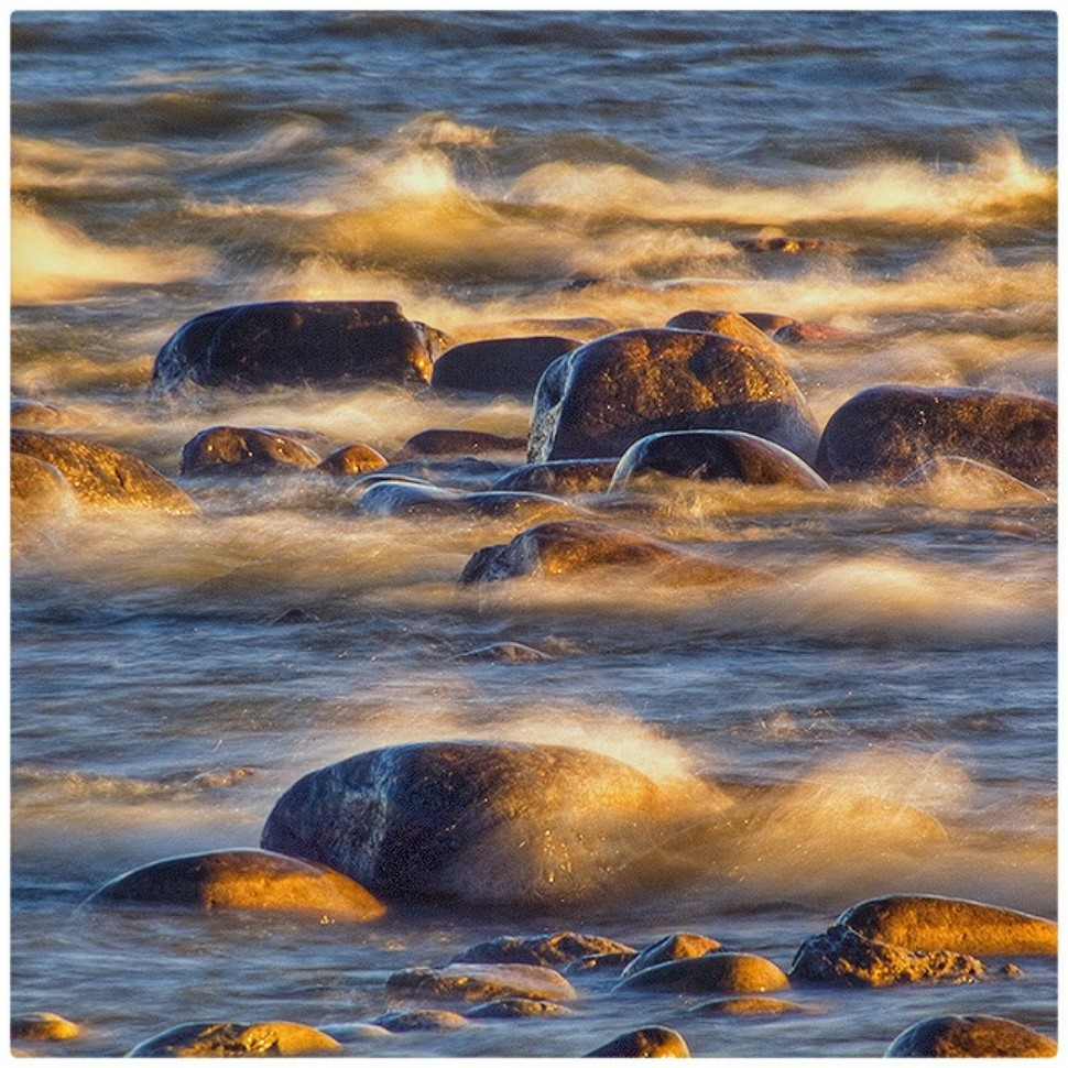 July Squares: Blue Water, Rocks and Waves.