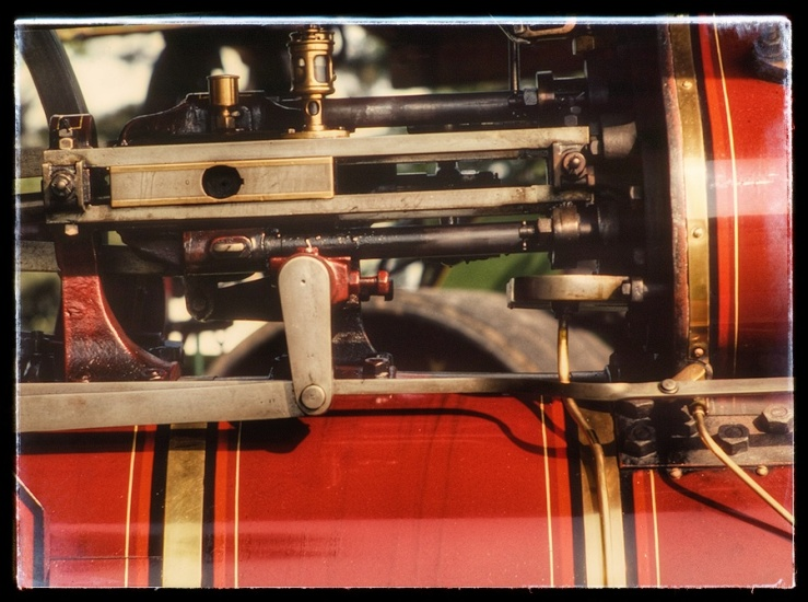 Detail of a steam traction engine.