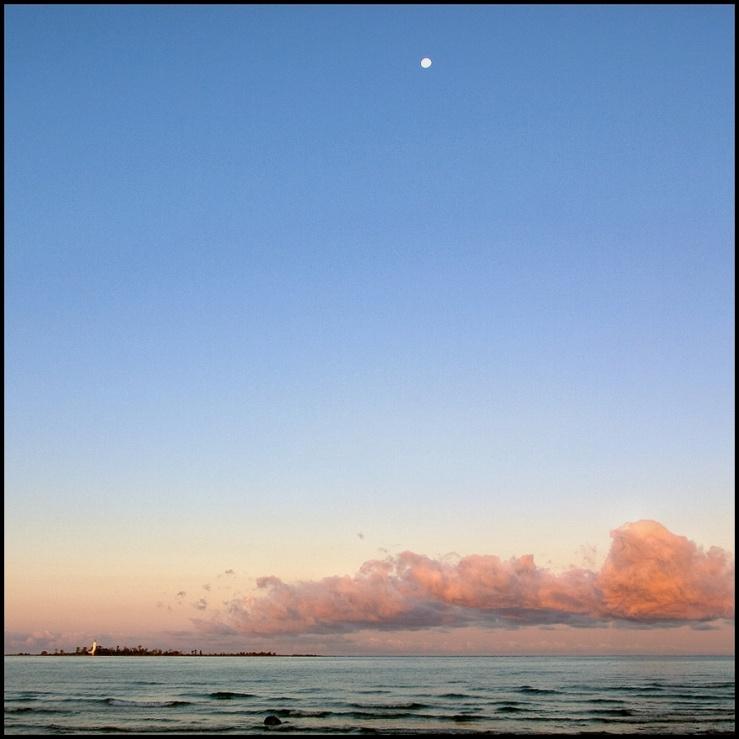 July Squares: Big Blue Sky, tiny moon.