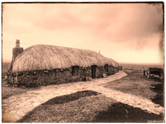 Weekly Prompts Photo Challenge: Sepia Crofters Cottage.