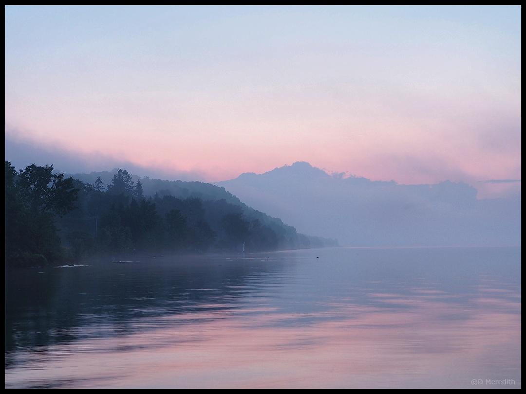 Fog on Colpoy's Bay at sunrise.
