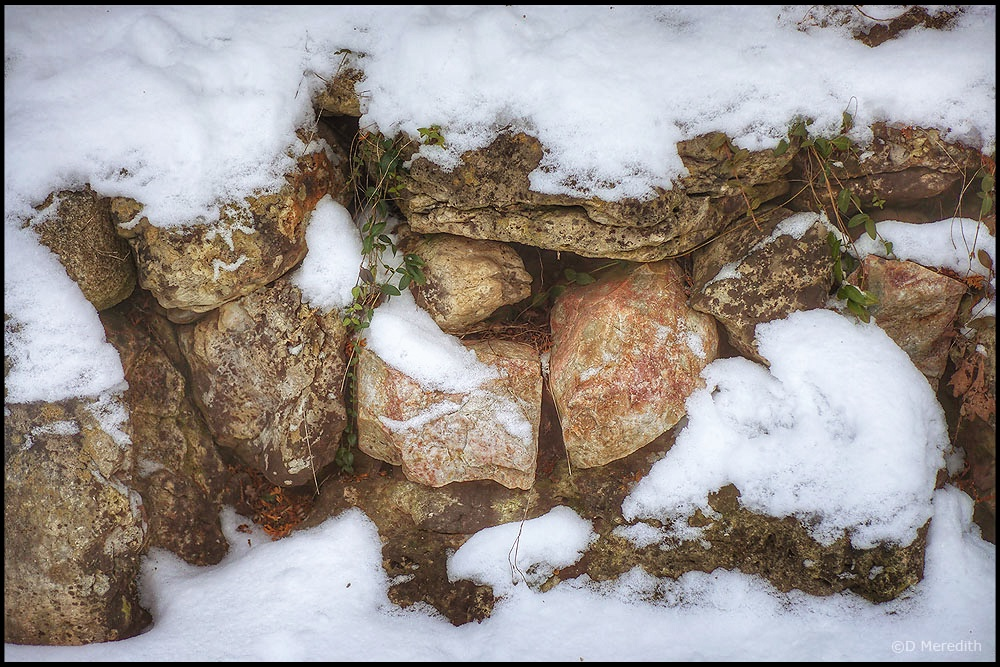 Six Word Saturday: Field Stone Wall in the Snow