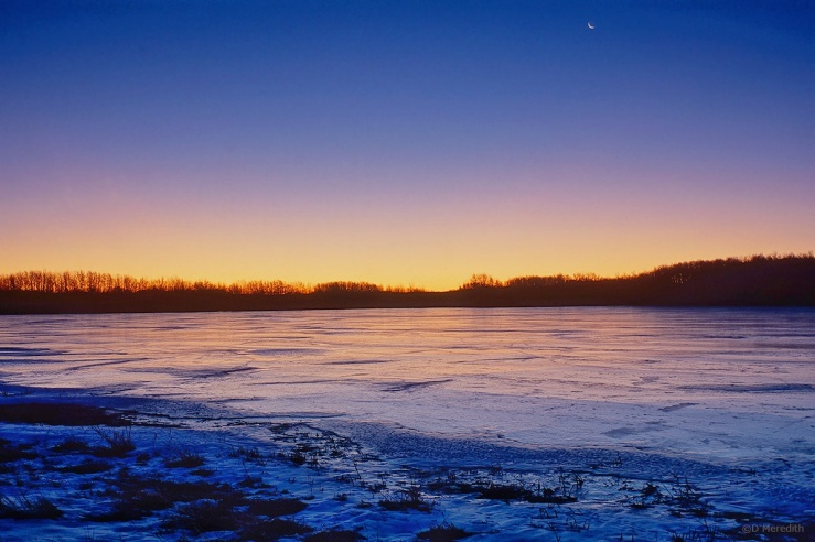 Six Word Saturday: Crescent Moon Over A Frozen Slough
