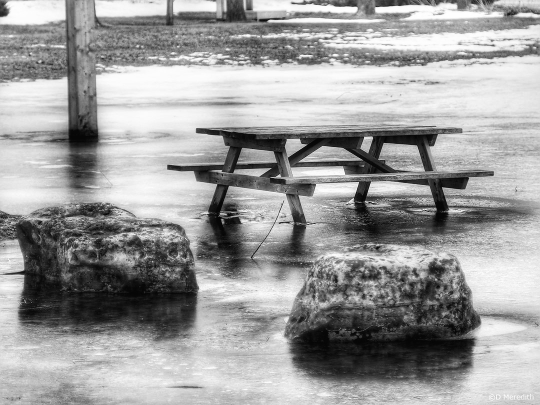 Cee's Black and White Photo Challenge: Tables, Chairs, Picnic Table