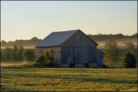 Cee's Fun Foto Challenge: Barn and Mist at Sunrise